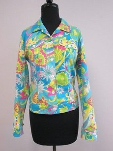 Maggy London Turquoise Yellow Pink Print Long Sleeve Button Up Jacket X007