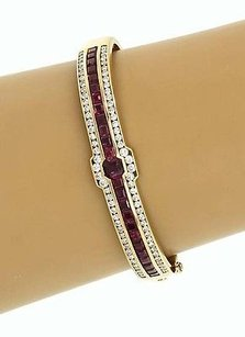 Magnificent 14k Yellow Gold 6ctw Diamond Ruby Bangle Bracelet