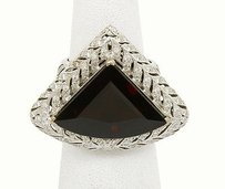 Other Magnificent 18k White Gold 15ct Trillion Garnet 1ctw Diamond Cocktail Ring