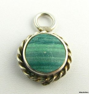 Other Malachite Pendant - Sterling Silver Green Stone Solitaire Charm Estate Fashion