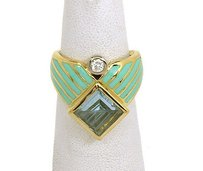 Other Manfred 18k Two Tone Gold 3.60ctw Diamond Blue Topaz W Enamel Cocktail Ring