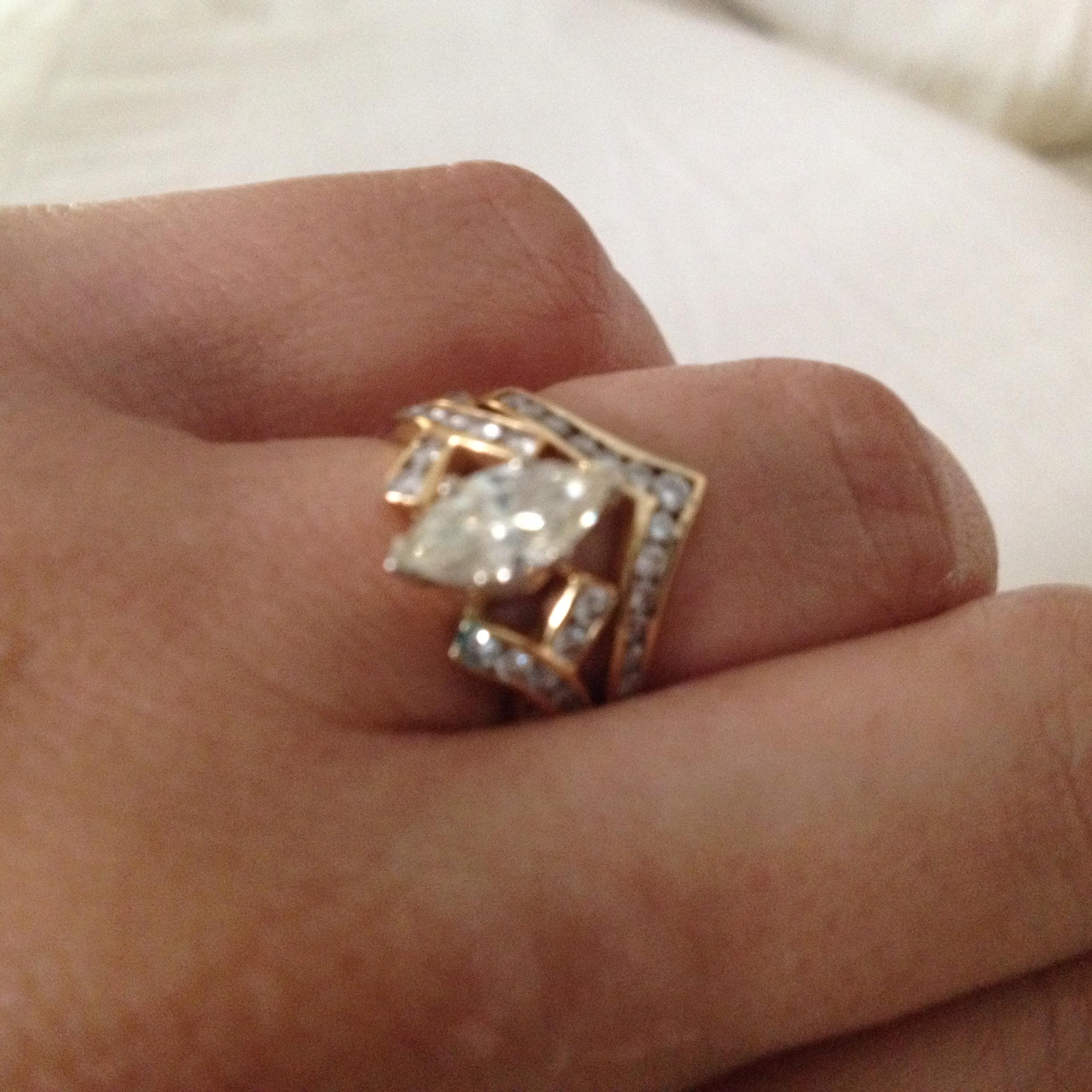Marquise Diamond Engagement Ring And Chevron Wedding Band