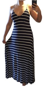 Blue, White Maxi Dress by Olivaceous