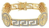 Medusa Greek Design Bracelet 14k Yellow Gold Finish Sterlnig Silver Lab Diamonds