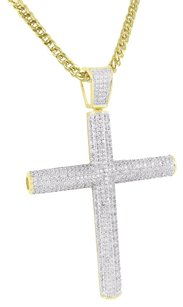 Men Cross Pendant Set Stainless Steel Franco Chain Simulated Diamond Gold Finish