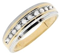 Other Mens 10k Two Tone Gold One Row Genuine Diamond Wedding Band Ring 0.25ct.