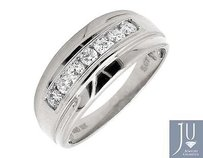 Mens 10k White Gold 1 Row Channel Set Genuine Diamond Wedding Ring Band 0.50ct