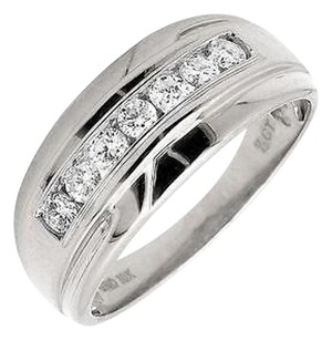 Other Mens 10k White Gold 1 Row Channel Set Genuine Diamond Wedding Ring Band 0.50ct