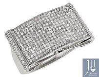 Mens 10k White Gold Pave Diamonds Statement Fashion Pinky Ring 1.3ct 15mm