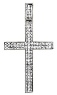 Mens 10k White Gold Pave Set Genuine Diamond Cross Charm Pendant 2.16 1.20ct