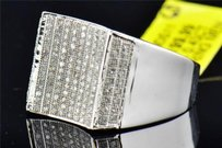 Mens 10k White Gold Round Cut Pave Genuine Diamond Designer Pinky Ring 0.45 Ct.