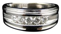 Mens 10k Whtie Gold Genuine Diamond Channel Wedding Engagement Band Ring 0.50 Ct