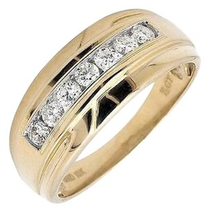 Mens 10k Yellow Gold 1 Row Channel Set Genuine Diamond Wedding Ring Band 0.50ct