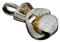 Other Mens 10k Yellow Gold 3d Boxing Gloves Genuine Diamond Pendant Charm 1.0ct 1.5