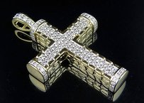 Other Mens 10k Yellow Gold 3d Nugget Block Cross Genuine Diamond Pendant 2.25ct In