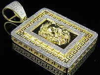 Other Mens 10k Yellow Gold Greek Key Lion Genuine Diamond Pendant Charm 1.50ct 1.8
