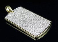 Mens 10k Yellow Gold Iced Out Diamond Dogtag Fine Pendant Ct 1.9 Inches