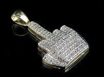 Mens 10k Yellow Gold Iced Out Diamond Middle Finger Pendant 0.25 Ct 1.4