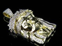 Mens 10k Yellow Gold Jesus Head Genuine Diamond Charm Pendant 1.0ct 1.2 Inch