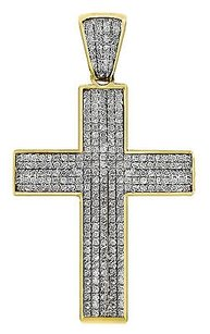 Mens 10k Yellow Gold Mini Puff Pave Genuine Diamond Cross Pendant 1.30 Ct 1.75