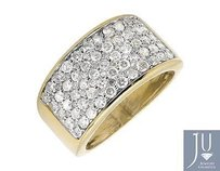 Mens 10k Yellow Gold Multi Rows Wide Genuine Diamond Pinky Ring Band 2.50ct.