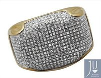 Mens 10k Yellow Gold Pave Iced Out Genuine Diamond Dome Puff Pinky Ring 1.3ct
