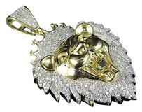 Other Mens 10k Yellow Gold Roaring Lion Head Real Diamond Pendant Charm 1.0 Ct 1.7 In