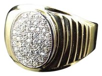 Mens 10k Yellow Gold Simulated Diamond Oval Design Fashion Pinky Ring 11mm