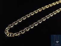 Mens 14k Solid Yellow Gold 3mm Flat Mariner Link Style Chain 16-24 Inches