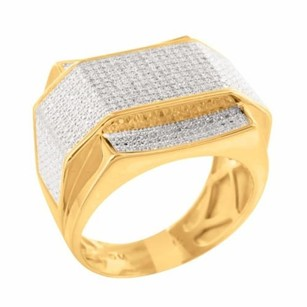 Mens 14k Yellow Gold Finish Over Silver 925 0.50 Carat Diamond Grooms Pinky Ring