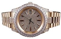 Other Mens 18k Rose Gold Steel Simulated Diamond Presidential Watch 41mm Pr-01