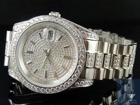 Other Mens 18k White Gold Steel Simulated Diamond Presidential Watch 41mm Pr-02