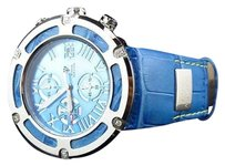 Mens Aqua Master El Russo W346 Blue Stainless Steel Genuine Diamond Watch .20ct