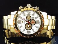 Mens Aqua Master Gold Finish Big Face Diamond Watch 50mm W138 0.33 Ct