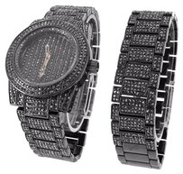 Other Mens Black Pvd Watch Matching Bracelet Gift Set Black Stones Analog Mm
