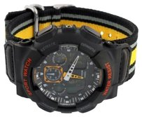 Other Mens Boys Black Digital Wristwatch Yellow Canvas Fabric Band Steel Back Silicon