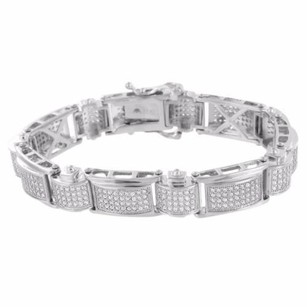 Other Mens Bracelet Simulated Stones 14k Finish Over Stainless Steel White Gold
