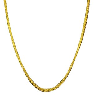 Mens Chain Necklace 1 Row Yellow Simulated Lab Diamond Solitaire Gold Finish
