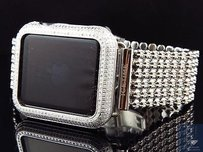 Mens Custom Apple I-watch Sports 42mm Stainless Steel Real Diamond Watch 6.0ct