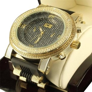 Mens Diamond Illusion Dial 14k Yellow Gold Finish Silicon Bullet Band Jojo Watch