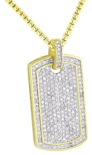 Other Mens Dog Tag Design Pendant Simulated Diamonds 14k Gold Finish Steel Necklace
