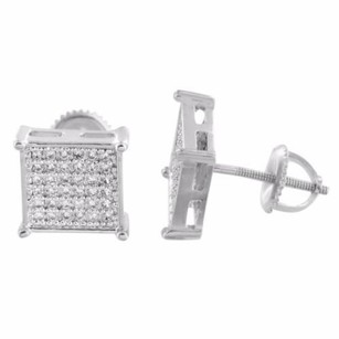 Mens Earrings White Gold Square 14k Finish Simulated Diamonds Screw Back Mm
