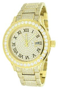 Other Mens Gold Finish Watch Solid Stainless Steel Iced Out Round Cut Cz Jojo Jojino