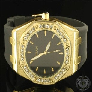 Mens Iced Out 14k Yellow Gold Finish Simulated Diamond Titan Jojo Jojino Watch