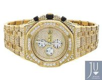 Mens Jewelry Unlimited Yellow Gold Steel Simulated Diamond Watch 43mm Ap Style