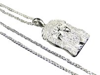 Mens Ladie Genuine Diamond Mini Jesus Pendant Chain In White Gold Finish .40ct