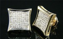 Mens Ladies Princess Cut Diamond Stud Earrings 1.20 Ct
