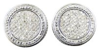 Mens Ladies White Gold Finish With Clear Diamond In Mm Stud Earrings