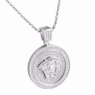 Other Mens Pendant And Chain Medusa Medallion Sterling Silver White Gold Finish