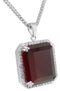 Other Mens Ruby Pendant Solitaire 18k Gold Layer White Franco Chain Simulated Diamonds